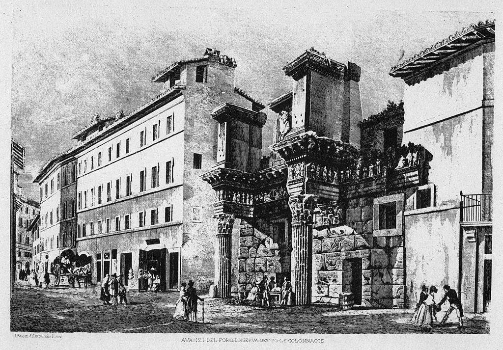 L'antica via Alessandrina, Foro di Nerva - Litografia di Rossini