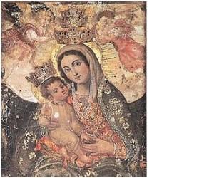 L'icona sacra della Madonna, impressa sul pilastro